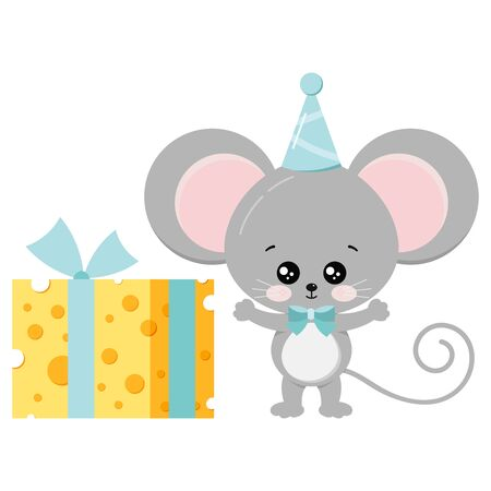 Cute mouse in birthday cap and bow tie with gift - tied with a ribbon piece of cheese vector flat style illustration isolated on white background. Cartoon little rat with food. Happy birthday concept
