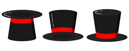 Black magician cylinder hats with red ribbon set. Flat design. Magic hats isolated on white background. Retro style elegant men s headdress set. Gentleman accessory collection vector illustration.