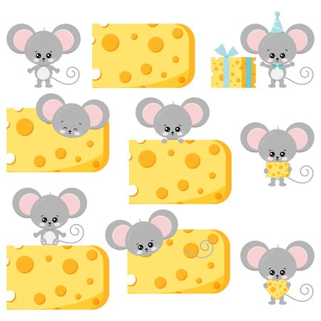Cute mouse and cheese vector flat set isolated on white background. Various action little funny rat with food - next to cheese, on and inside a piece of cheese, with heart-shaped cheese, as a gift.
