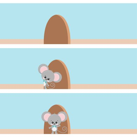 Cute mouse looking out of the hole in the wall, standing in the doorway of a hole. Funny animal cartoon character situation set isolated on a white background, Vector Illustration. Flat design. Illustration