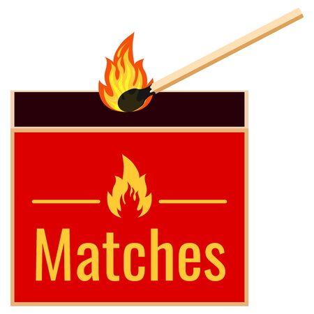 Burning match and matchbox flat design icon isolated on white background. Vector illustrations burning matchstick light with sparks and small fire. Symbol of ignition, withering.