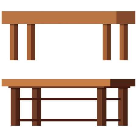 Coffee tables vector set isolated on white background. Hallway, living room wooden furniture interior design elements, rectangular shape. Flat catroon style single illustration.