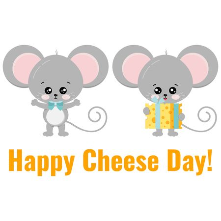Cute mouse with gift tied with a ribbon piece of cheese congratulates another mouse. Vector flat style illustration isolated on white background. Cartoon little rat with food. Happy Cheese Day concept
