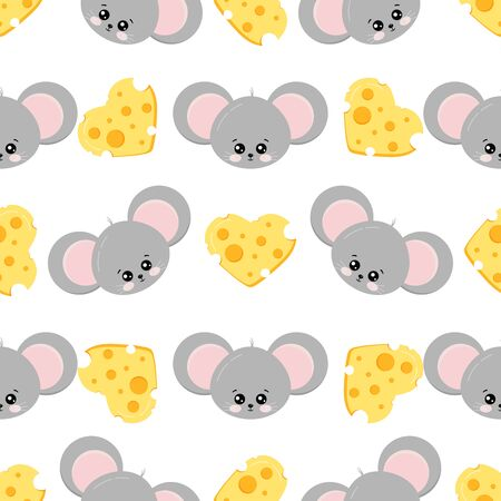 Mouse face and cheese shape of heart colorful seamless pattern on white background. Cute animal character print. Endless texture. Sample children cartoon background. Vector flat design illustration.