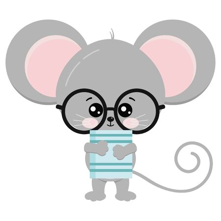 Cute mouse stand with glasses and book in paws vector icon illustration. Funny kawaii mice isolated on white background. Little baby rat. Animal adorable wildlife cartoon character.