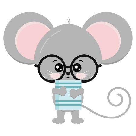 Support de souris mignon avec des lunettes et livre en illustration d'icône de vecteur de pattes. Souris kawaii drôles isolées sur fond blanc. Petit bébé rat. Personnage de dessin animé animal adorable de la faune.