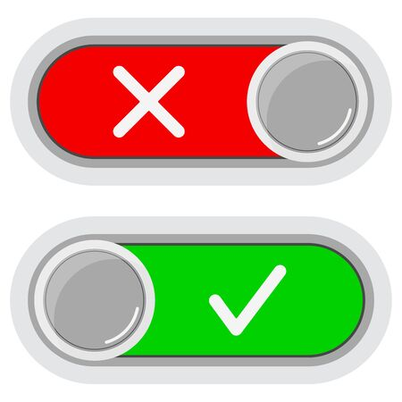 On Off switches sliders buttons icon set isolated on white background. Flat, simple design colorful grey, red and green signs user interface. Toggle switch symbol for web. Vector illustration.