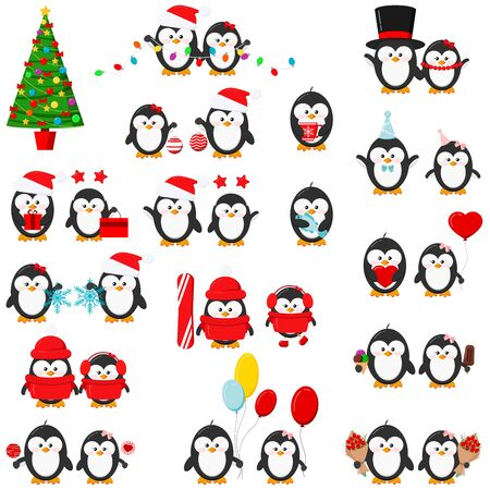 Cute penguin boy and girl set isolated on white background - red christmas hat, with garland, gift, balloons, heart, ice cream, snowboard, skates, fish, christmas ball. Flat design vector illustration Foto de archivo - 134588288