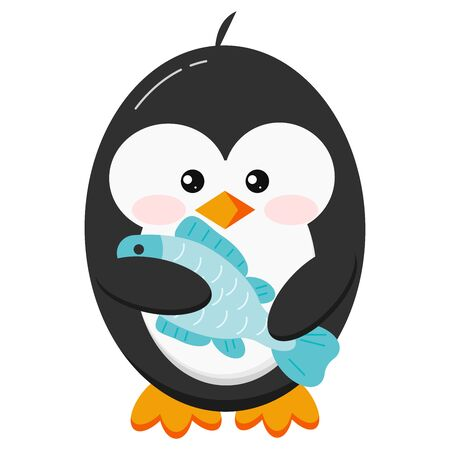 Cute penguin bird with fish in its paws isolated on white background. Funny winter little baby black penguin and fresh deliciuos fish in cartoon style. Flat design vector illustration.