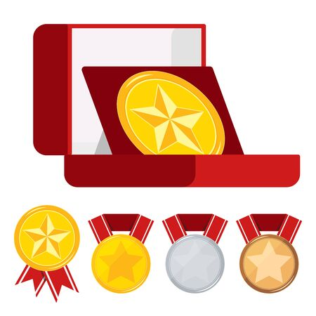 Medals vector set decorated with star in open red velvet box, different medals golden, silver, bronze with red ribbon isolated on white background . Icon sign first, second, third place illustration.