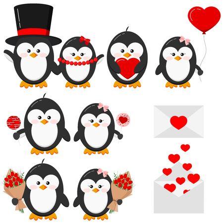 Cute lovely penguin boy and girl couple in love set isolated on white background - with heart, heart shape ballon, flowers, lollipops, love letter. Flat design Valentine s Day vector illustration. Foto de archivo - 134568939