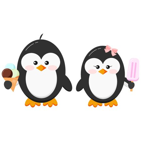 Cute penguins with ice cream clip art. Baby boy penguin with ice cream cone and girl with pink ice lolly couple set isolated on white background. Flat design vector funny bird character illustration. Illusztráció