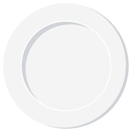 Empty white plate vector illustration isolated on white background. Flat design top view classic clean dinner plate icon. Иллюстрация