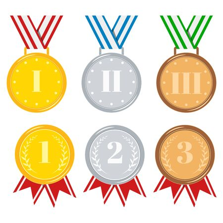 Medals set isolated on white background golden, silver, bronze medal with red, stripped, blue, green ribbon, star, laurel branches. Icon sign first, second, third place. Vector flat illustration.