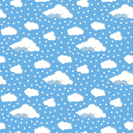 Clouds, sky and snow vector flat design seamless pattern. White different form clouds and dots on blue background. Abstract endless texture for web, covers, decoration, pharmaceutical print design. Иллюстрация
