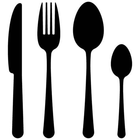 Black cutlery flat simple design icon set isolated on white background. Top view dark silhuette tableware - spoon, fork, knife, tea spoon shapes. Vector kitchenware symbol illustration.