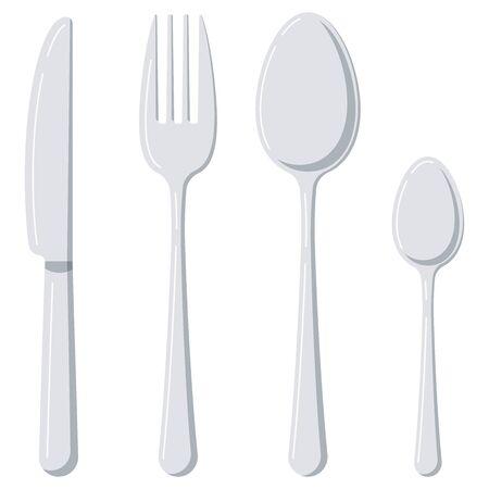 Cubiertos diseño plano conjunto de iconos aislado sobre fondo blanco. Vajilla de plata vista superior: cuchara, tenedor, cuchillo, cuchara de té. Ilustración de utensilios de cocina de estilo de dibujos animados de vector. Ilustración de vector
