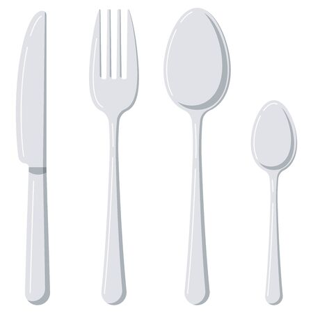 Set di icone di design piatto posate isolato su priorità bassa bianca. Stoviglie d'argento vista dall'alto - cucchiaio, forchetta, coltello, cucchiaino da tè. Illustrazione di stoviglie in stile fumetto vettoriale. Vettoriali