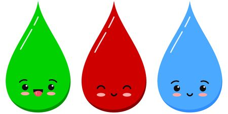 Water, blood and green liquid drop emoticon icon set isolated on white background. Vector flat cartoon emoji character illustration medicine tablet icon design collection. Kawaii style.