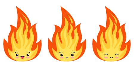 Emoji fire flames icon set isolated on a white background. Hot cartoon flame energy emoticon sign, flaming symbols. Flat design vector kawaii character illustration.
