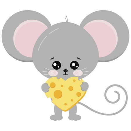Cute mouse and heart shape piece of cheese in paws vector illustration. Funny mice carrying slices of cheese isolated on white background. Little baby rat with food. Animal adorable cartoon character. Иллюстрация