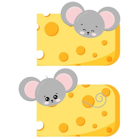 Cute mouse pick out of cheese set isolated on white background. Various action peeps out of cheese. Little funny rat with food inside a piece of cheese. Vector flat design illustration. Иллюстрация