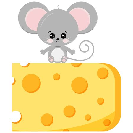 Cute baby mouse on piece of cheese vector flat design image isolated on white background. Little funny rat sits on delicious cheese. Cartoon style adorable animal character illustration.