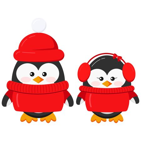 Cute penguin boy and girl couple set in warm winter clothes - red sweater, hat, head accessory earmuffs isolated on white background. Flat design vector funny bird character illustration.