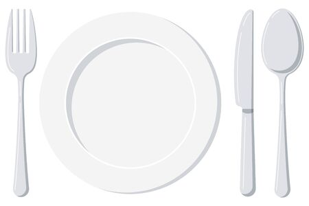 Empty white plate with spoon, knife and fork isolated on a white background. Top view silver cutlery and ceramic serving plate design template. Vector flat design cartoon style illustration. Иллюстрация
