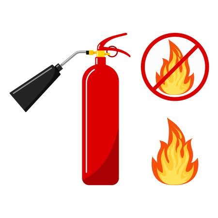 Red fire extinguisher with nozzle silhouette icon, fire and no fire sign, no open flame - colored variant fire crossed out in circle isolated on white background. Flat design set. Vector illustration. Stock Illustratie