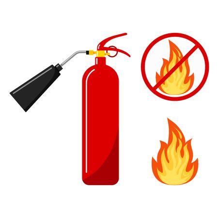 Roter Feuerlöscher mit Düsensilhouette-Symbol, Feuer und kein Feuerzeichen, keine offene Flamme - farbiges Variantenfeuer im Kreis isoliert auf weißem Hintergrund durchgestrichen. Flaches Design-Set. Vektor-Illustration. Vektorgrafik