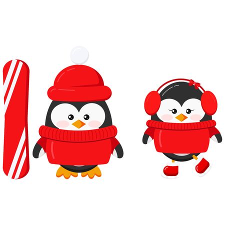 Cute winter sport penguin boy and girl couple set isolated on white background - baby penguin in red sweaters, hats boy with snowboard and ice skating girl. Flat design vector character illustration.
