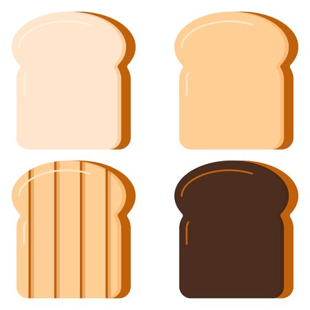 Toasts bread set isolated on white background. Vector illustration flat design cartton style. Four slices of toast fresh bread, fried, grilled, burnt. Delicious sandwich breakfast concept.