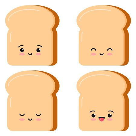Cute toasts bread kawaii cartoon styly set isolated on white background. Vector illustration flat design. Four slices of toast emoji. Delicious sandwich character breakfast concept.