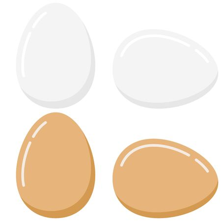 Eggs icon set isolated on white background. Fresh or boiled white and light brown bird eggs lie and stand vector flat design illustration. Chicken egg breakfast concept. Template for Easter holiday.