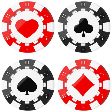Poker chips set with card suits hearts, spades, diamonds, clubs. Red and black casino chip icons isolated on white background. Vector flat design cartoon style illustration.