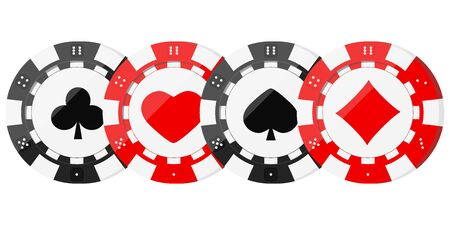 Poker chips with card suits hearts, spades, diamonds, clubs in horizontal row. Red and black casino chip icons isolated on white background. Vector flat design illustration. Games of chance concept. Иллюстрация