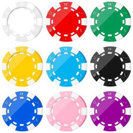Poker colorful chip icons set isolated on white background - white, red, green, yellow, blue, black, pink, purple. Casino chips colored templates. Vector flat design cartoon style illustration. Иллюстрация