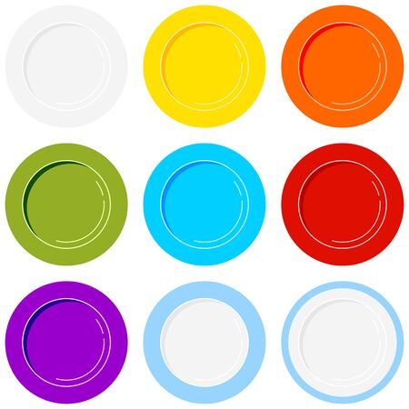 Plate icons set isolated on white background. Empty colorful ceramic dishes collection - red, white, green, blue, yellow, with border. Flat design top view clean dinner plate icon. Vector illustration