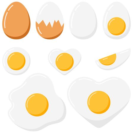 Egg vector set isolated on white background. Collection of fried, peeled, boiled, half, sliced, heart shape eggs. Vector illustration. Eggs in various forms. Top and side view.