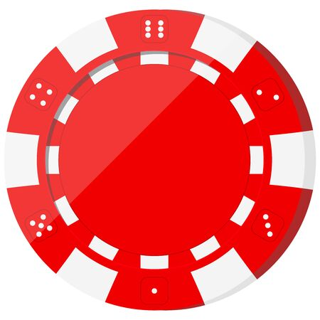 Red casino chip icon isolated on white background. Single roulette chip sign for web, app design. Poker token blank template. Vector flat design cartoon style illustration.