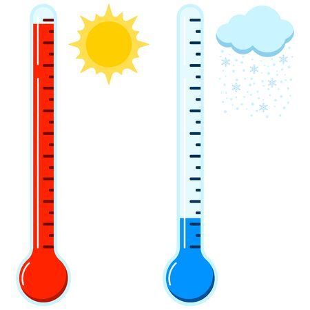 Hot and cold thermometer icon set. Hot sunny and cold snowy weather concept. Glass thermometer signs with sun and cloud with snow. Vector flat design cartoon style illustration. Celsius and Fahrenheit Illustration
