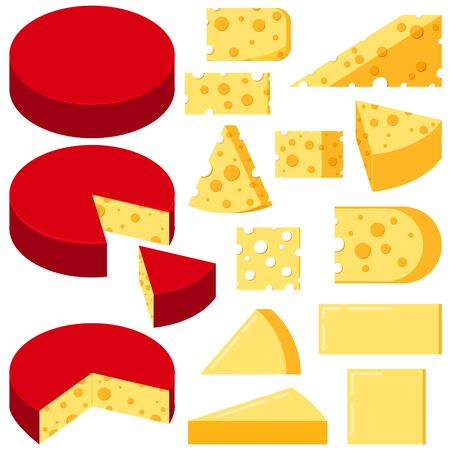 Cheese various shapes slices vector set isolated on white background. Flat design cartoon style triangular, square, rectangular, round pieces of yellow cheese illustration. Organic milk food.