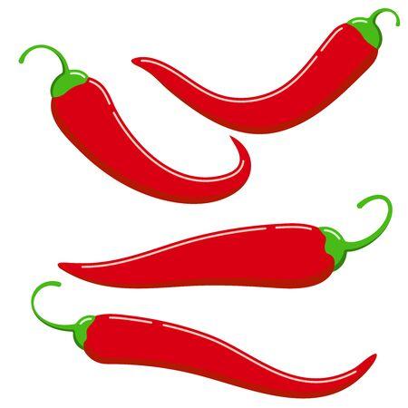 Red chilli pepper icon vector set isolated on white background. Flat design cartoon style fresh ripe organic vegetable illustration. Spicy hot chilli pepper food clip art image collection.