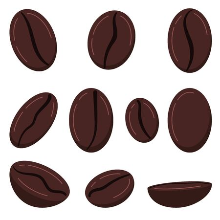 Coffee grains icon set isolated on white background. Roasted brown fresh coffe beans - arabica, robusta varieties. Front, side, top view. Vector flat design cartoon style food and drink illustration. Иллюстрация