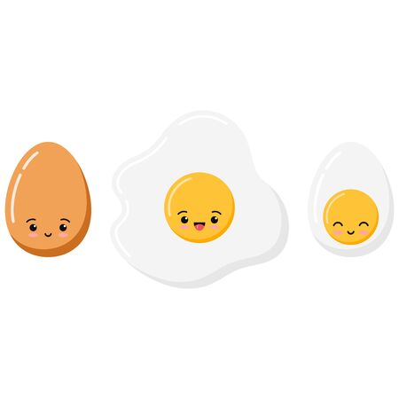 Cute emoji fried, boiled and half eggs icon set isolated on white background. Flat cartoon kawaii style vector food character illustration. Eggs with lovely emoticon faces. Иллюстрация