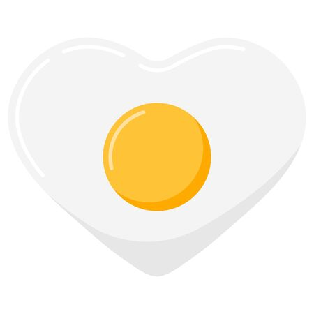Fried heart shape egg with yellow yolk vector icon isolated on white background. Flat design cartoon style food omelet illustration. Single cute lovely symbol. Romantic breakfast design element. Иллюстрация