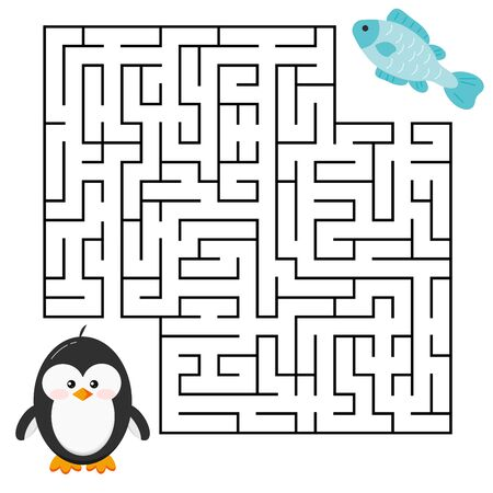 Maze game - labyrinth with cute cartoon penguin boy and fresh fish for kids education. Help penguin to find right a delicious fish. Vector illustration cartoon style. Flat design mind road game. Иллюстрация