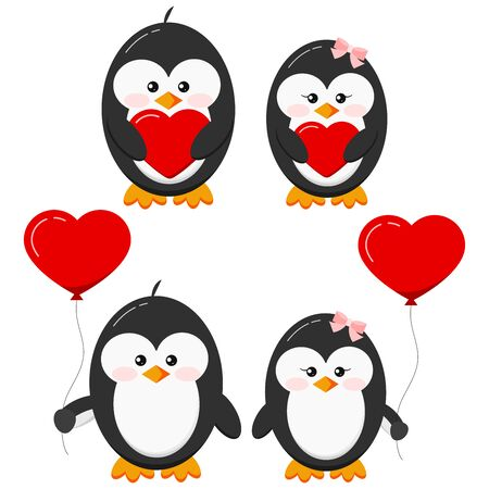 Cute lovely penguin stand with red heart and heart shape balloons set isolated on white background. Flat design Valentine s Day vector character illustration. Boy and girl bird couple in love.