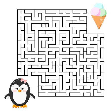 Maze game - labyrinth with cute cartoon penguin girl and ice cream for kids education. Help penguin to find right a delicious ice cream cone. Vector illustration cartoon style. Flat design mind game. Иллюстрация